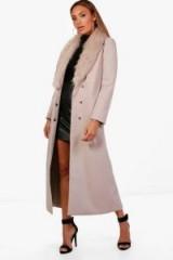 boohoo Caroline Maxi Faux Fur Collar Wool Look Coat ~ longline winter coats