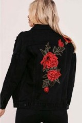 IN THE STYLE CARSON BLACK FLORAL APPLIQUE DENIM JACKET