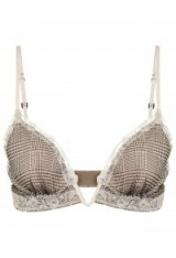 LA PERLA CASTLE GARDEN Khaki silk crêpe triangle V-bra with frastaglio embroidery – luxury bras – lace trim lingerie