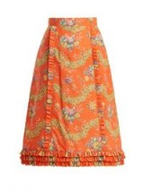 THE VAMPIRE'S WIFE Cate Liberty floral-print cotton midi skirt | orange ruffle trimmed skirts