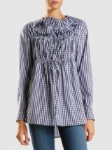 ‎CÉDRIC CHARLIER‎ Gingham Long Sleeve Cotton Shirt | gathered check print shirts