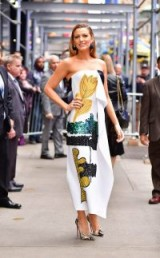 "Blake Lively wearing a draped strapless dress by Oscar de la Renta, promoting ""All I See Is You"" in New York."