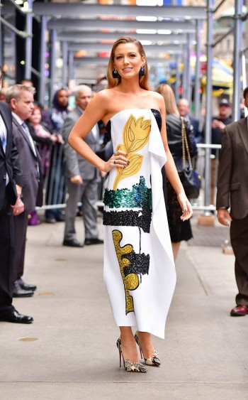 """Blake Lively wearing a draped strapless dress by Oscar de la Renta, promoting """"All I See Is You"""" in New York."""