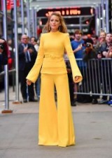 "Blake Lively promoting ""All I See Is You"" out in New York, dressed in a yellow Brandon Maxwell outfit."