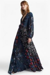 FRENCH CONNECTION Celia Mix V Neck Floral Maxi Dress ~ mixed floral prints