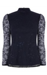 WAREHOUSE CHANTILLY LACE HIGH NECK TOP | navy blue sheer sleeved tops