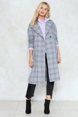Nasty Gal Check Marks the Spot Longline Coat – checked coats
