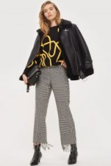 Topshop Checked Fringed Trousers | check print pants