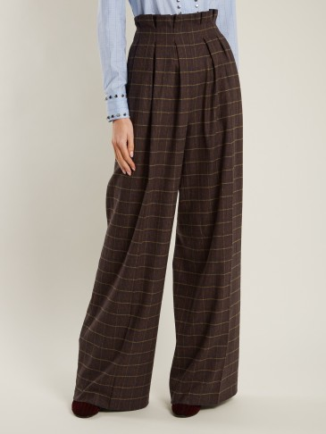 STELLA JEAN Checked high-rise wide-leg wool-blend trousers / tailored high waist check print pants