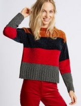 M&S COLLECTION Chenille Colour Block Round Neck Jumper ~ colourblock jumpers ~ marks and spencer knitwear