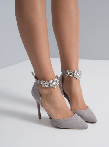 CHI CHI DANIELLE HEELS – grey embellished party shoes