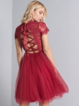 CHI CHI KATHRIN DRESS – red lace and tulle party dresses – lace up back