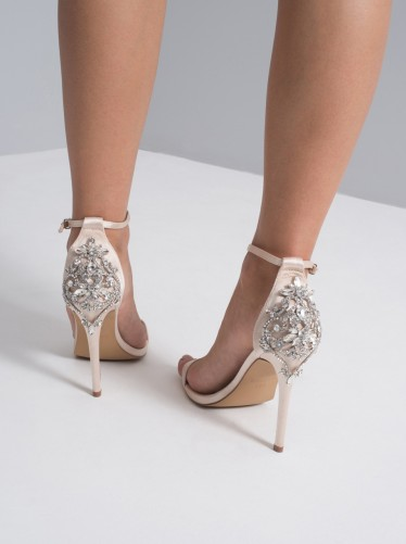 CHI CHI LIVVY HEELS – champagne embellished back barely there sandals