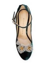 CHLOE GOSSELIN Helix pumps / green embellished ankle strap courts