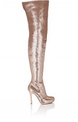 CHRISTIAN LOUBOUTIN Moulin Noir Paillette Cuissard Boots ~ rose-gold patent leather boot ~ over the knee