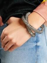 CHRISTOPHER KANE Crystal Skinny Double Bolster Bracelet | silver tone bracelets