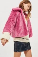 Topshop CLAIRE Luxe Faux Fur Coat / bright pink winter coats