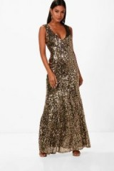 boohoo Clare Sequin Plunge Fishtail Maxi Dress | gold plunging party dresses