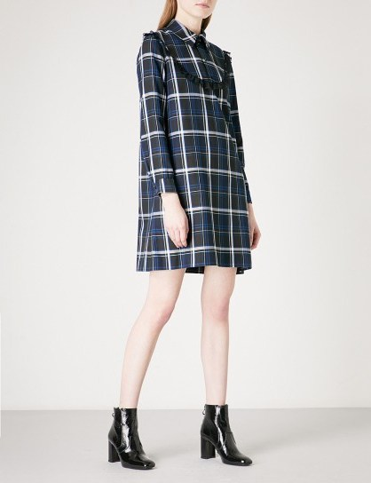CLAUDIE PIERLOT Lace-trim checked flannel mini dress / blue check print dresses - flipped