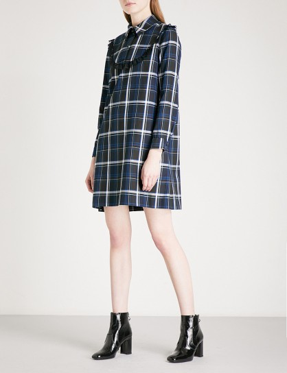 CLAUDIE PIERLOT Lace-trim checked flannel mini dress / blue check print dresses
