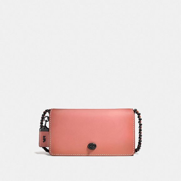 COACH 1941 Dinky Crossbody In Colorblock Leather BLACK COPPER/MELON | small crossbody bags