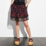 COACH 1941 Horse Print Tiered Skirt DARK RED
