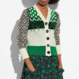 COACH 1941 Jacquard Cardigan | green and white mixed patterned cardigans | vintage style knitwear