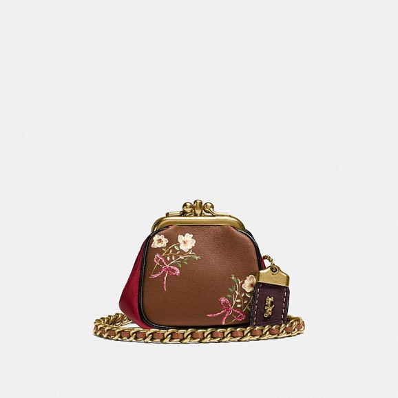 COACH 1941 Kisslock Pouch In Glovetanned Nappa Leather With Floral Bow Print | tiny crossbody pouches | small brown floral bags