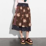 COACH 1941 Mixed Print Layered Skirt | brown floral midi skirts