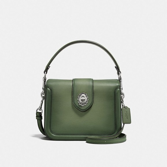 COACH Page Crossbody In Glovetanned Leather With Tooled Turnlock | small green top handle bags