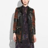 Coach Patchwork Western Rivets Coat BLACK / leather studded cowgirl coats