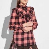 Coach Prairie Check Western Blouse / pink checked cowgirl blouses / frill trim shirts
