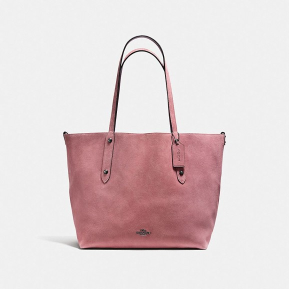 COACH Reversible Large Market Tote In Suede And Crossgrain Leather DARK GUNMETAL/DUSTY ROSE