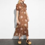COACH 1941 Underpinning Dress | brown floral dresses | romantic ruffle fashion