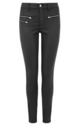 WAREHOUSE COATED BIKER JEANS   black denim   zip detail skinny jeans