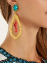 SYLVIA TOLEDANO Corail gold-plated clip-on drop earrings ~ blue, coral and gold ~ statement jewellery