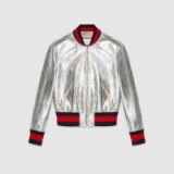 GUCCI Crackle leather bomber jacket | metallic silver jackets