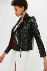 Topshop Crocodile Effect Leather Biker | black high shine jackets