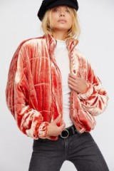 FREE PEOPLE Cropped Velvet Puffer Orange / luxe style bomber jackets
