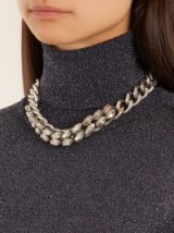 ISABEL MARANT Crystal-embellished chunky necklace ~ silver tone statement jewellery