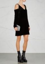 MCQ ALEXANDER MCQUEEN Crystal-embellished velvet mini dress ~ black cold shoulder evening dresses ~ chic lbd