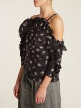 REBECCA TAYLOR Cut-out shoulder floral fil coupé top ~ ruffled cold shoulder tops