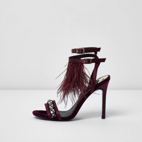 River Island Dark red feather embellished sandals | strappy evening heels