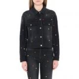 Stella McCartney Denim Heart Embroidery Jacket   casual black jackets