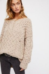 Free People Destroyed Cable Pullover | oatmeal jumpers