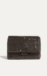 KAREN MILLEN DIAMONTE FOLDOVER CLUTCH BAG – BLACK / small sparkly diamante evening bags