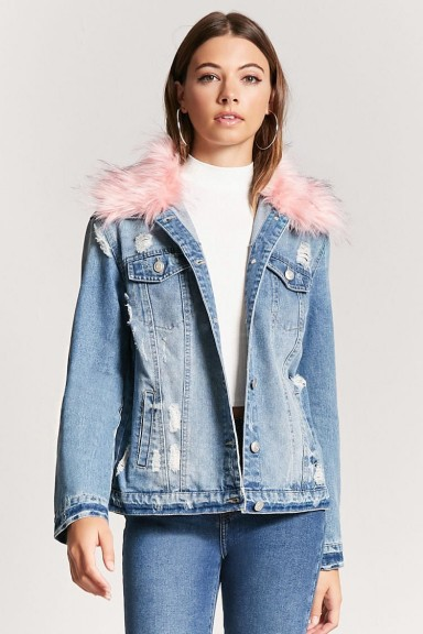 Forever 21 Distressed Faux Fur Collar Denim Jacket Blue And Fluf