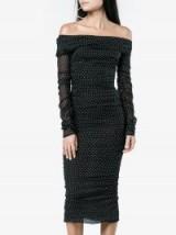 Dolce & Gabbana Off-Shoulder Ruched Polka Dot Dress ~ chic bardot dresses ~ vintage style lbd