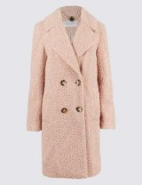PER UNA Double Breasted Coat ~ pale pink teddy coats ~ M&S outerwear