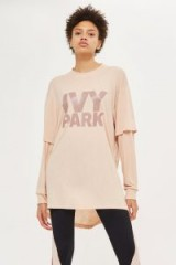 Ivy Park Double Layer Logo Top / long pink casual tops